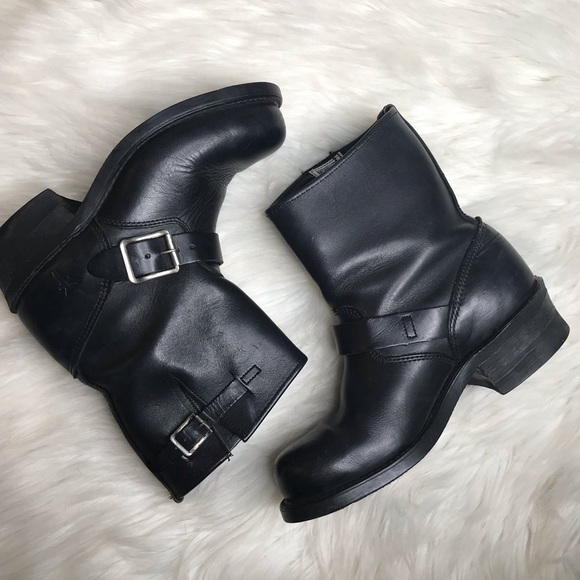Frye Shoes - Frye black leather engineer boots sz 6.5